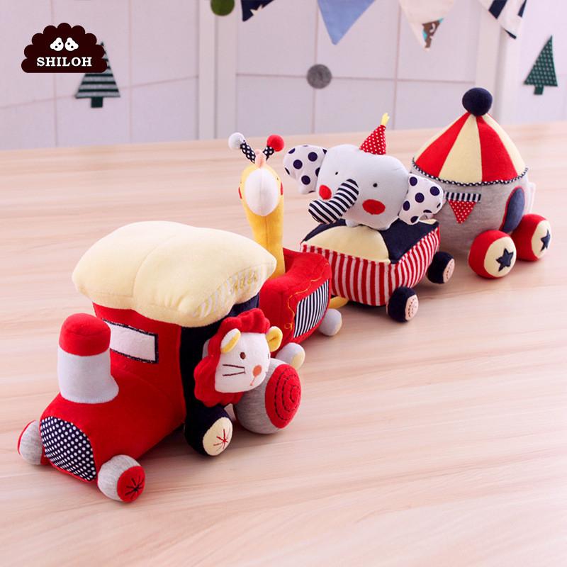 婴儿安抚玩具陪宝宝睡觉玩偶儿毛绒布艺动物小火车玩具摇铃