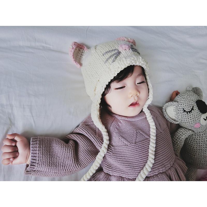 韩范可爱宝宝纯手工卡通毛线帽子 0-2岁婴童立体护耳针织帽子