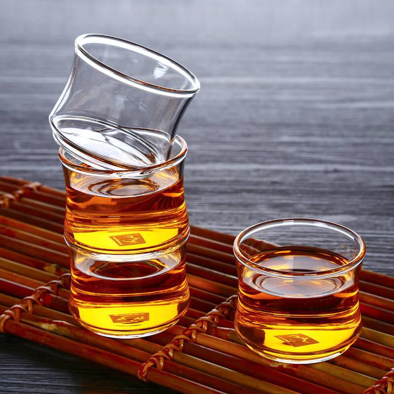 功夫竹节茗杯小玻璃杯茶具品杯透明耐热茶杯套装盏杯子pb336六只装图片