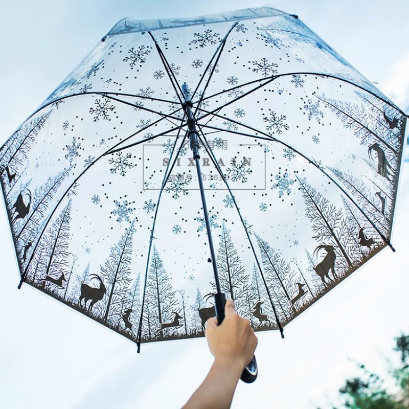 唯美透明伞长柄动漫雨伞女黑白小清新简约森系学生公主伞