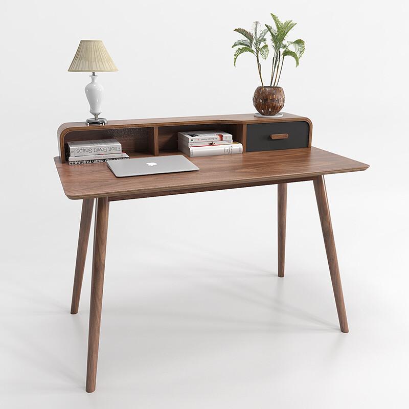 实木书桌家用现代简约北欧电脑桌新中式桌子胡桃木办公桌
