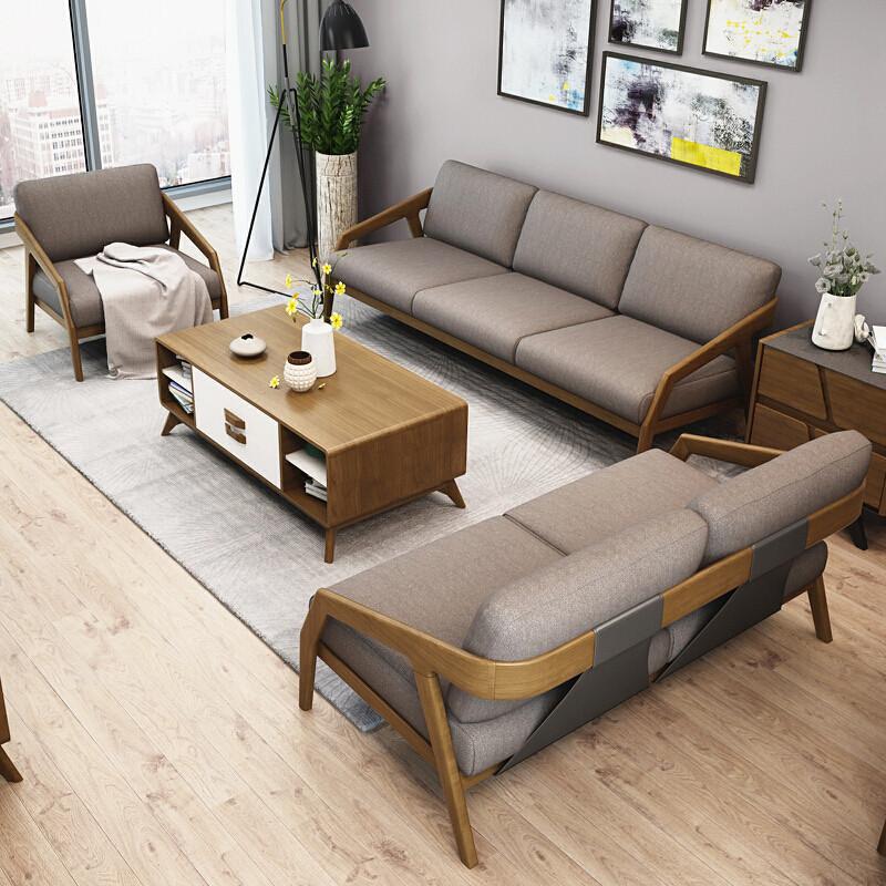 沙发实木沙发布艺沙发客厅沙发小户型北欧沙发白蜡木沙发新中式家具单