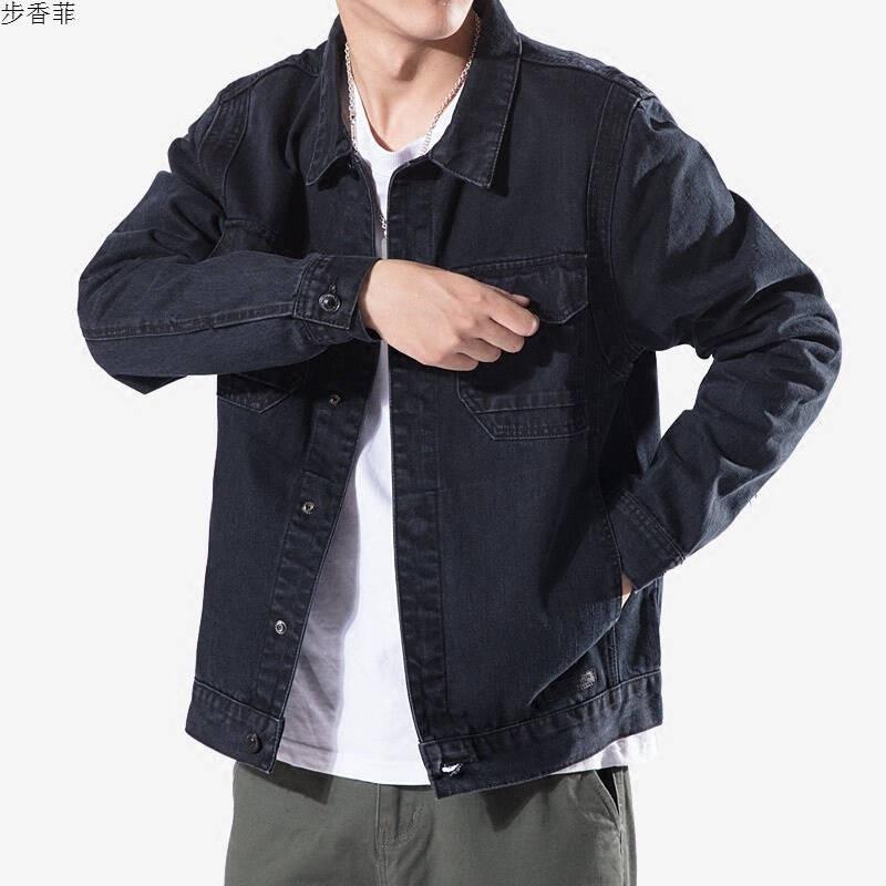 秋冬日系复古黑色机车牛仔夹克潮男青少年工装外套修身翻领牛仔衣