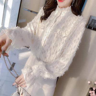 小样传奇 2020韩版春季新款女神范气质钉珠木耳边衬衫女流苏喇叭袖上
