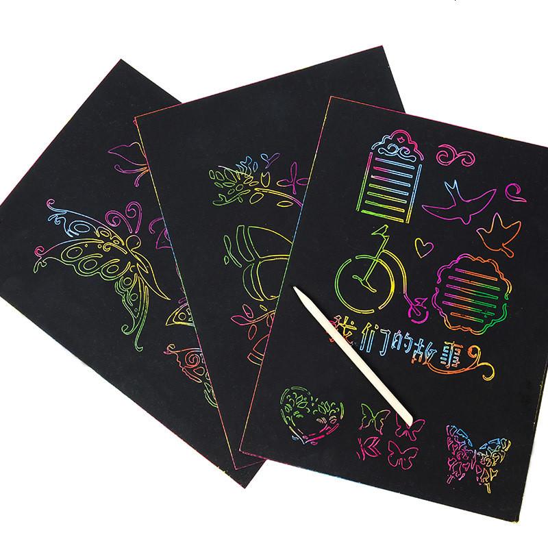刮画纸8k儿童diy手工创意牙签刮刮画沙画50张