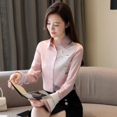 有怡2020春季新款女装国风仙鹤定位印花不对称长袖开襟雪纺衬衫