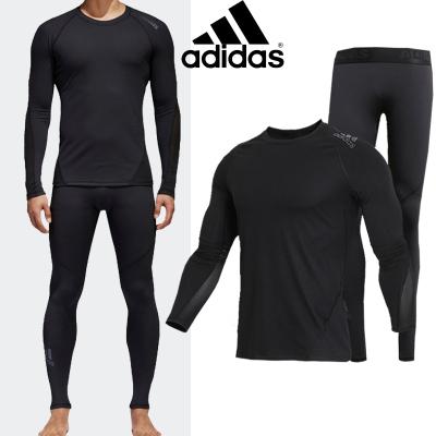 Adidas阿迪达斯健身套装男士秋冬跑步篮球运动服速干紧身衣紧身裤