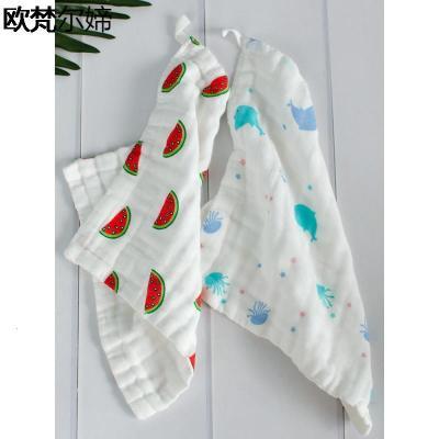 欧梵尔媂婴儿棉纱布毛巾 宝宝儿童六层手帕手绢口水巾 洗脸巾小方巾