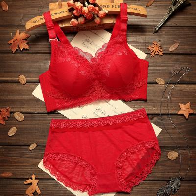 【内衣+内裤】大红色聚拢文胸套装结婚 本命年无钢圈女性感内衣 莎丞
