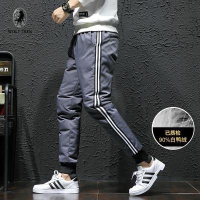WOLF TREK 男装冬季新款条纹加绒裤90%绒保暖束脚棉裤大码外穿羽绒裤男