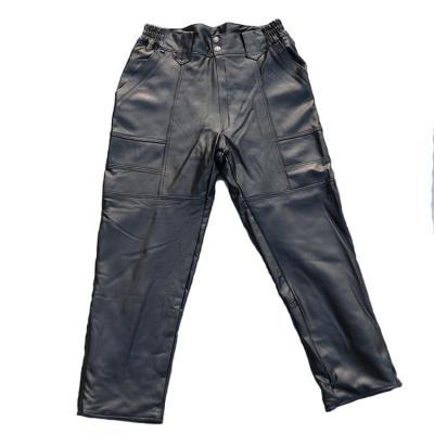 秋冬仿真皮皮裤男头层羊皮裤子中老年宽松版机动车防风耐磨保暖长裤串得起