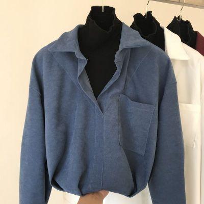 2020春季新款衬衫拼接假两件长袖v领慵懒衬衣ins风套头上衣女