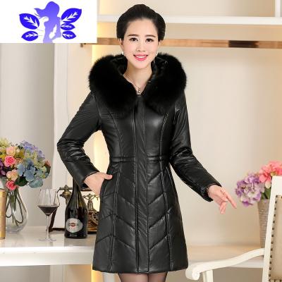 中年妇女冬装皮衣修身中长款羽绒皮外套2019新款妈妈装女式皮棉衣  Ideamini