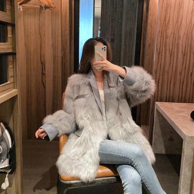 晶飒冬季皮草皮毛一体毛呢仿水貂绒羊羔毛羊剪绒羊羔毛大衣外套女冬