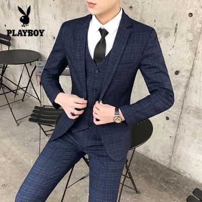 花花公子 ( PLAYBOY ICON )西装男套装修身2019春秋休闲西服外套潮男士小西装西裤马甲三件套