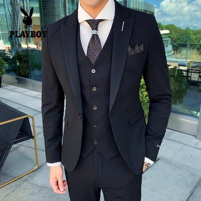 花花公子 ( PLAYBOY ICON )西服男套装韩版修身纯色西服套装三件套男上班商务职业正装男