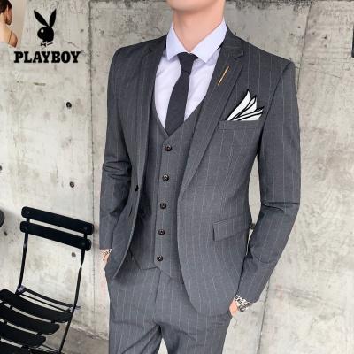 花花公子 ( PLAYBOY ICON )秋季竖条纹西服套装男士英伦修身商务西装三件套正装新郎结婚礼服