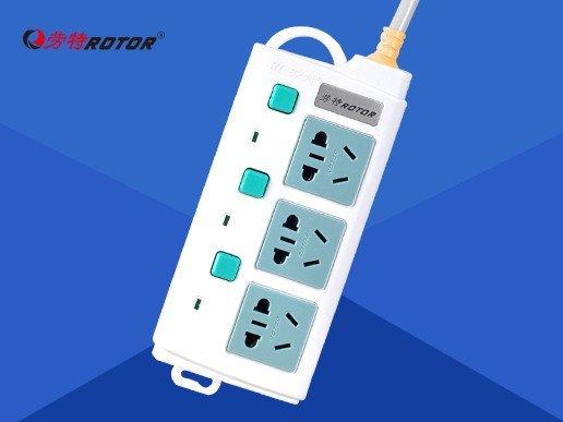 劳特插座 三孔一位一控电源接线板 2500w插线板 单排带独立开关排插