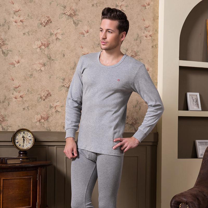 新款保暖内衣男薄款纯棉男士秋衣秋裤套装条纹