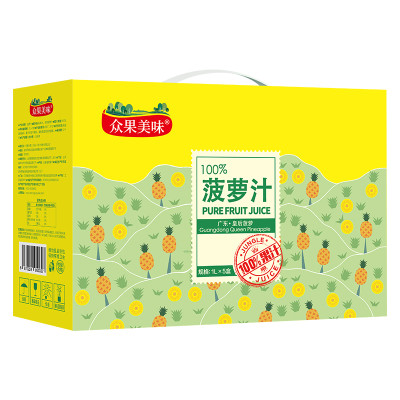 众果100%纯果汁 1L*5菠萝汁 礼盒装