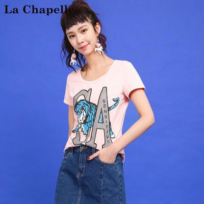 自营 拉夏贝尔Candies夏季女装新款字母印花短袖T恤女休闲T恤30072169