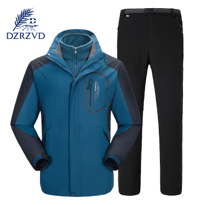 杜戛地(DZRZVD)秋冬新款男女款户外两件套情侣 防风保暖三合一冲锋衣裤套装DA9808601.98028