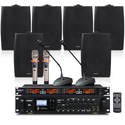 狮乐 会议音响套装组合(蓝牙功放+壁挂音箱)专业会议室系统背景音乐设备 无线话筒套餐