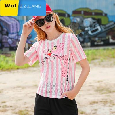 WaiZZ玛玛绨2018夏装新款粉红豹印花粉色短袖T恤女条纹修身chic上衣潮