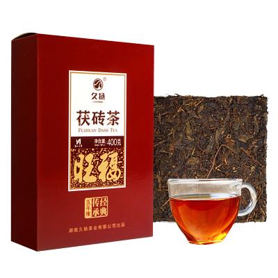 久扬黑茶湖南安化黑茶 旺福经典机压金花茯砖茶400克